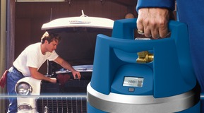 GENIE gas cylinder being used for car welding at home