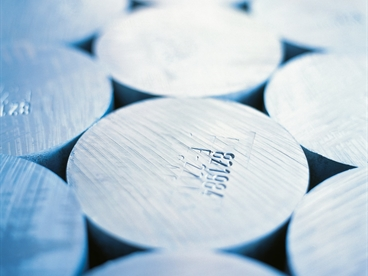 Close-up of round aluminium cylinders